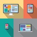 Desktop computer, tablet, laptop computer, smart phone vectors Royalty Free Stock Photo