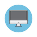 Desktop computer thin line icon, lcd screen filled outline vecto Royalty Free Stock Photo