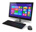 Desktop computer with touchscreen interface modern office business pc system monitor color icons keyboard and mouse isolated Stock Image
