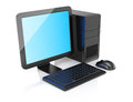 Desktop computer on white background d rendering illustration Royalty Free Stock Image