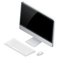 Desktop computer with wireless keyboard and mouse. Flat 3d Vector isometric illustration. Royalty Free Stock Photo