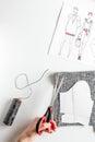 Desktop designer clothes with tools top view mock up