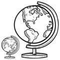 Desktop globes sketch Royalty Free Stock Images