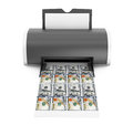 Desktop Home Printer Printed Money. 3d Rendering Royalty Free Stock Photo