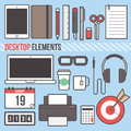 Desktop laptop tablet computer element flat design vector illustration Royalty Free Stock Photo