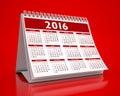 Desktop red calendar in background Stock Photo