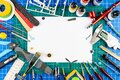 Desktop view from above of assembly painting of retro scale model plane concept copy space background. modeling tools airbrush gun Royalty Free Stock Photo