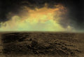 Desolate desert landscape illustration background this is a hand drawn image using electronic media the nature scene shows a Stock Photography