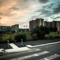Desolate suburb landscape in a gloomy day Stock Photo