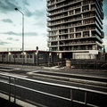 Desolate suburb landscape in a gloomy day Royalty Free Stock Photos