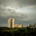 Desolate suburb landscape in a gloomy day Royalty Free Stock Photography
