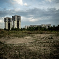 Desolate suburb landscape in a gloomy day Royalty Free Stock Image