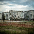 Desolate suburb landscape in a gloomy day Stock Images
