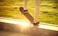 Desperate guy makes extremely dangerous elements on the skateboa Royalty Free Stock Photo