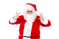 Desperate santa claus on white background Royalty Free Stock Photo
