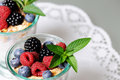 Dessert with berries two glasses yogurt cereals and close up Stock Photography