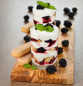 Dessert with blackberries on a brown background Royalty Free Stock Photography