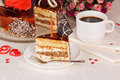 Dessert cake delicious and cup of coffee on the table Royalty Free Stock Photos