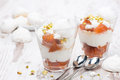 Dessert with canned peaches whipped cream and meringue horizontal Royalty Free Stock Photos