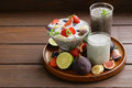 Dessert chia seed pudding with berries and fruits healthy eating super food Stock Image