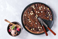 Dessert chocolate pizza Royalty Free Stock Photo