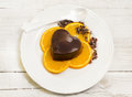 Dessert with chocolate pudding and orange slices mousse Stock Photos