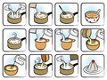 Dessert cooking icons twelve representing a recipe for a Royalty Free Stock Photo