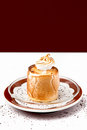 Dessert with cream on chocolate brown decoration Royalty Free Stock Photography