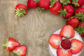 Dessert with cream and fresh strawberries can be used as background, card Royalty Free Stock Photo