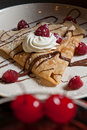 Dessert crepe with raspberries Royalty Free Stock Photography