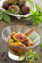 Dessert of figs honey and spices selective focus Royalty Free Stock Image