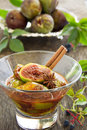 Dessert of figs honey and spices selective focus Stock Photo