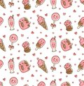Dessert food and drink seamless pattern in kawaii doodle style vector illustration
