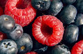 Dessert fresh berries close up the texture of raspberries and blue macro shot Stock Image