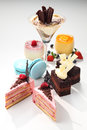 Dessert group of a sweet desserts Royalty Free Stock Photo