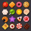 Dessert icon set on black background Royalty Free Stock Photo