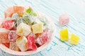 Dessert lokum delicious turkish delight on the cracked board Stock Images