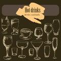 stock image of  Dessert, menu, drinks, tea, coffee, cocktail,alcohol glasses, bottle, menu, pattern, pattern