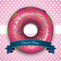 Dessert menu sweet pink frame with donut and blue ribbon Stock Photography