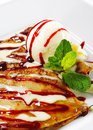 Dessert - Pancakes with Ice Cream Royalty Free Stock Photography