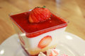 stock image of  Dessert panna cotta in a glass and fresh strawberries