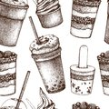 Seamless pattern with hand drawn desserts and sweet drinks. Fast food vintage background with ice cream, fruit salad, milkshake an