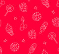 Dessert pattern with contour elements: ice-cream, strawberry, lollipop, cherry, donut, star. Sample for textile and wrapping. Vect