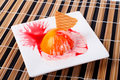 Dessert with peach, cracker and cream Stock Photography