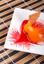 Dessert with peach, cracker and cream Stock Photos