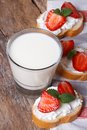 Dessert sandwiches with cream cheese, strawberries and milk Royalty Free Stock Photo