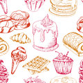 Dessert seamless pattern. Sweet background in hand drawn style. Wallpaper with cupcake, waffles, pretzel. Vector illustration
