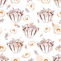 Dessert seamless pattern. Sweet background in hand drawn style. Wallpaper with tart, donut. Vector illustration for cafe menu, ban