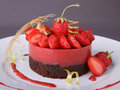Dessert, strawberry and chocolate pastry Royalty Free Stock Photo