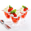 Dessert strawberry on cream Royalty Free Stock Photography
